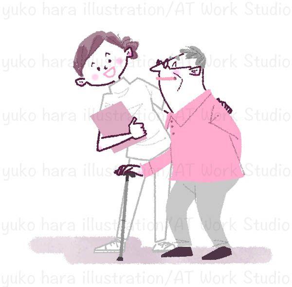 杖をついた男性高齢者を笑顔でケアする女性介護士のイラスト