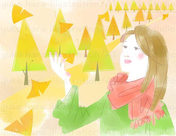 紅葉の中の舞い散る落ち葉と女性のイラスト