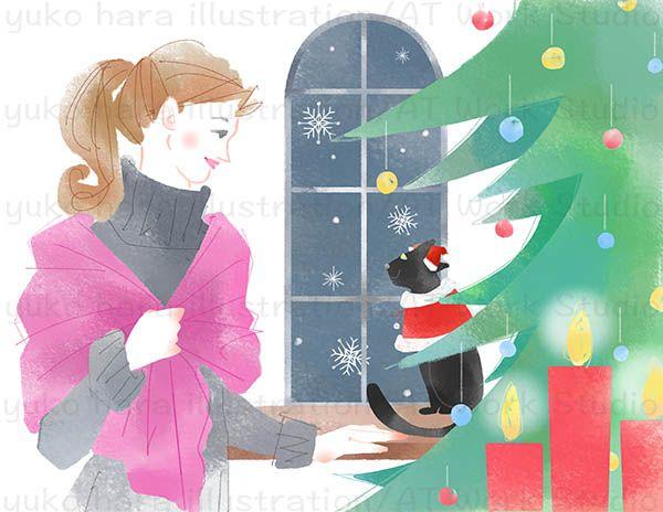 クリスマスツリーと黒猫と女性ののイラスト
