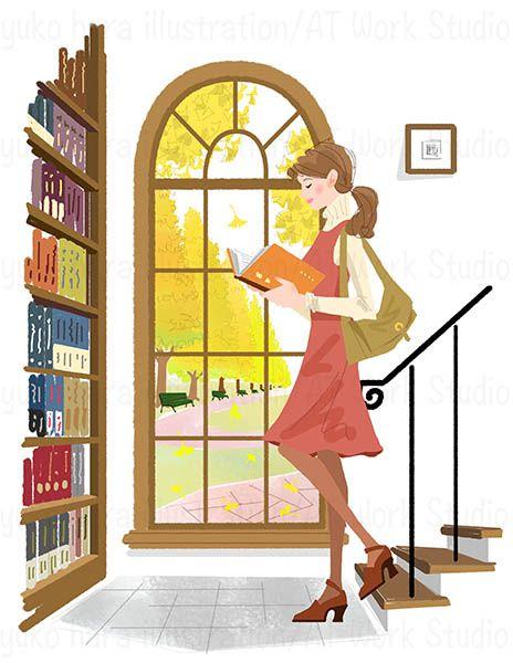 秋の日の図書館の窓辺いる女性のイラスト