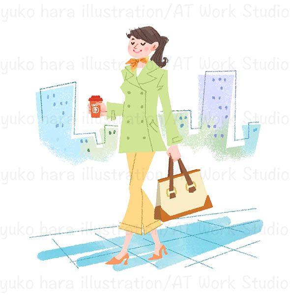 コーヒーカップを片手に颯爽と歩く女性 のイラスト