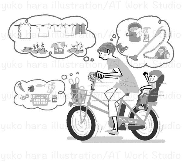 自転車で先を急ぐ忙しそうな女性のイラスト