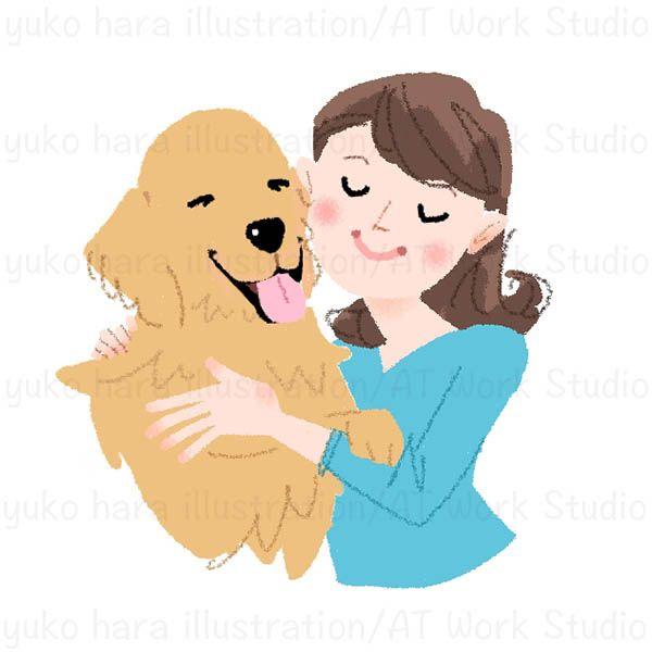 愛犬を抱き寄せる女性のイラスト