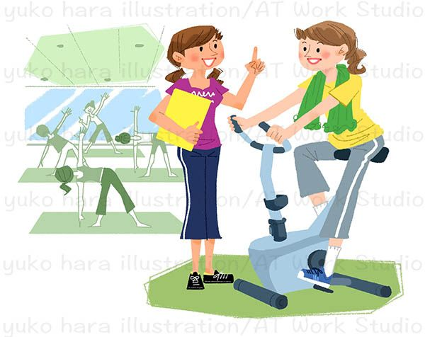 ジムでマシントレーニングをする女性と女性スタッフのイラスト