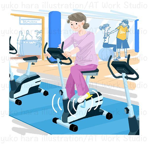 バイシクルマシンでトレーニングをする中高年女性のイラスト