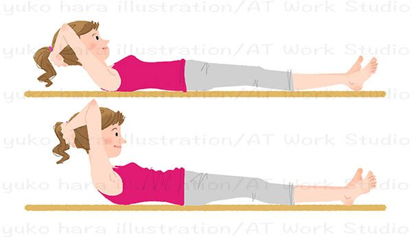 軽い腹筋運動をする女性のイラスト