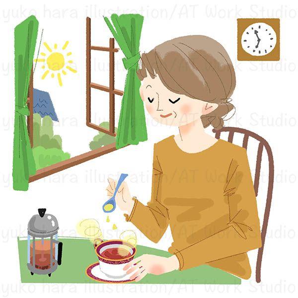 朝の紅茶と中高年女性のイラスト