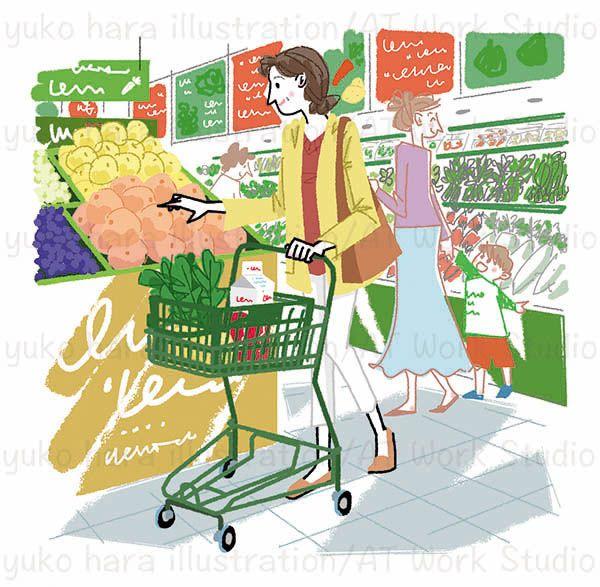 スーパーで果物を選ぶ中高年のスリムな女性のイラスト
