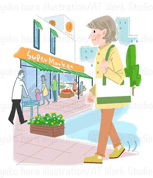 スーパーへ買い物に行く中高年女性のイラスト