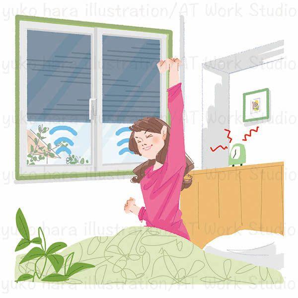 朝にベッドで伸びをする女性のイラスト
