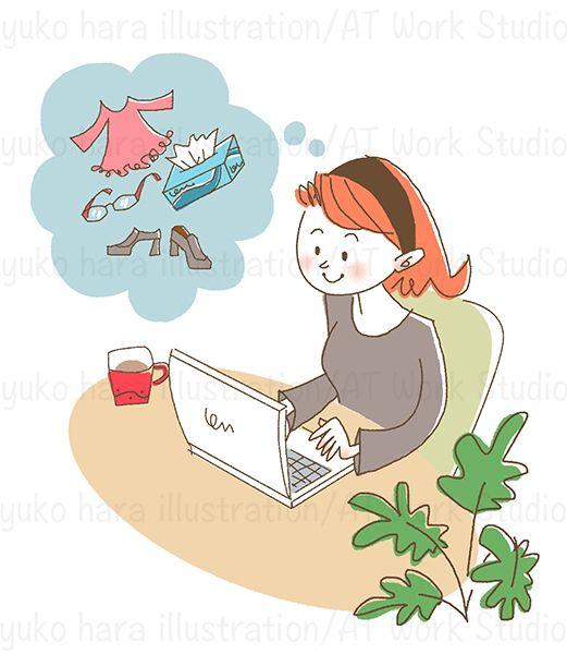 PCでネットショッピングをしている女性のイラスト