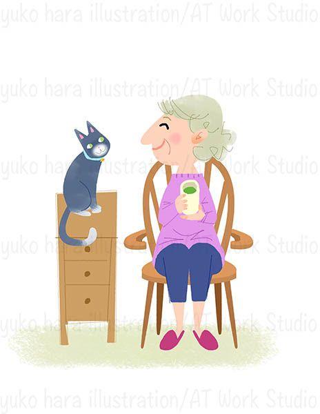 湯呑みを手に猫に微笑む中高年女性のイラスト