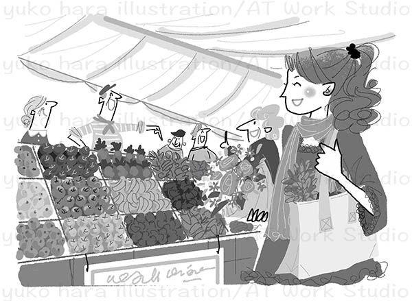 ヨーロッパのマーケットで買い物を楽しむ女性のイラスト