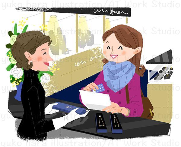 ジュエリーショップで買い物をする女性のイラスト