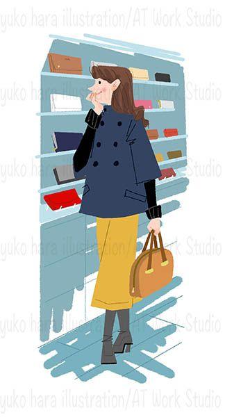 陳列棚の前を歩くショッピングの女性のイラスト