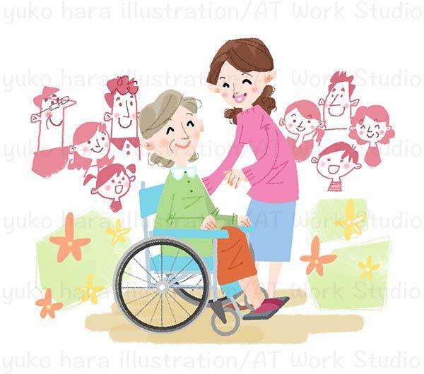 笑顔で車椅子の高齢者女性を介護する女性のイラスト