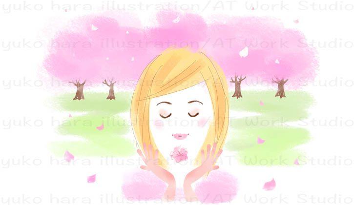 桜吹雪の中の女性のイラスト
