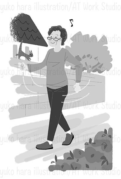 ウォーキングをする中高年女性のイラスト
