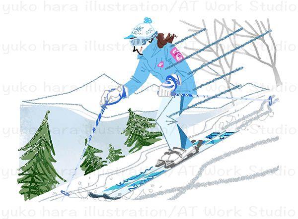 スキーで斜面を滑降する女性のイラスト
