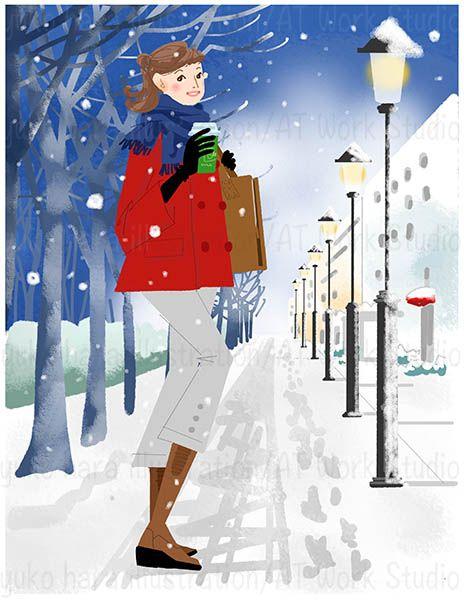 雪道で振り向く女性のイラスト