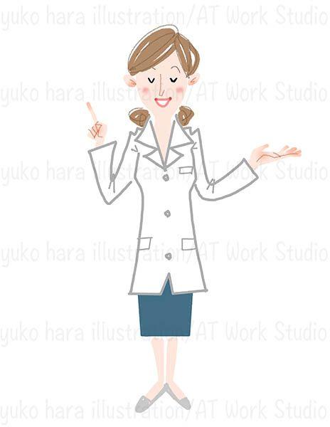 説明のポーズの女性ドクターのイラスト
