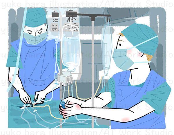 手術中の医者と看護士のイラスト