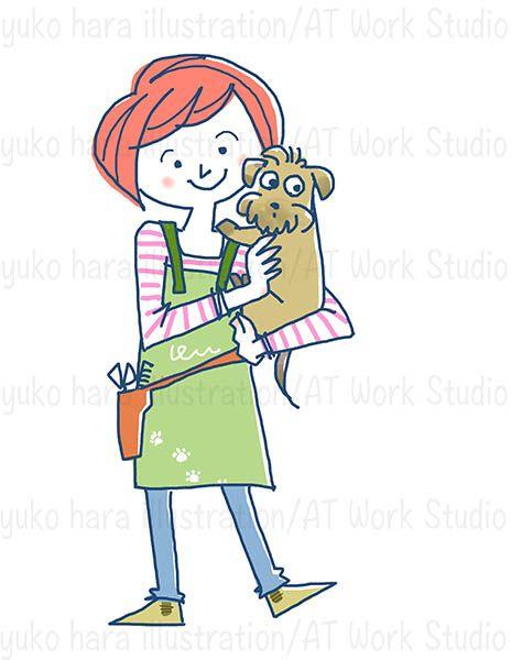 犬を抱いた女性トリマーのイラスト