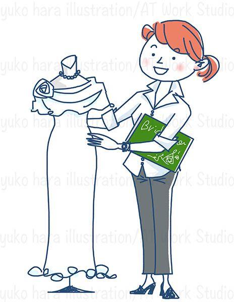 ウエディングドレスと女性のウエディングプランナーのイラスト