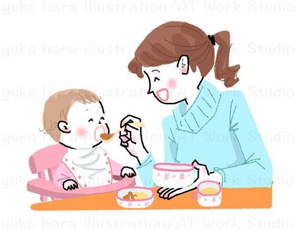 ママが赤ちゃんに食事を食べさせているイラスト