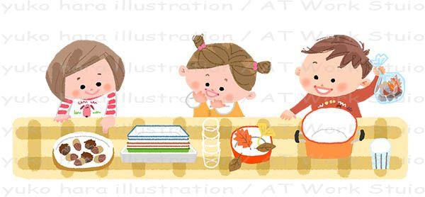 落ち葉で遊ぶ幼い男の子と女の子のイラスト