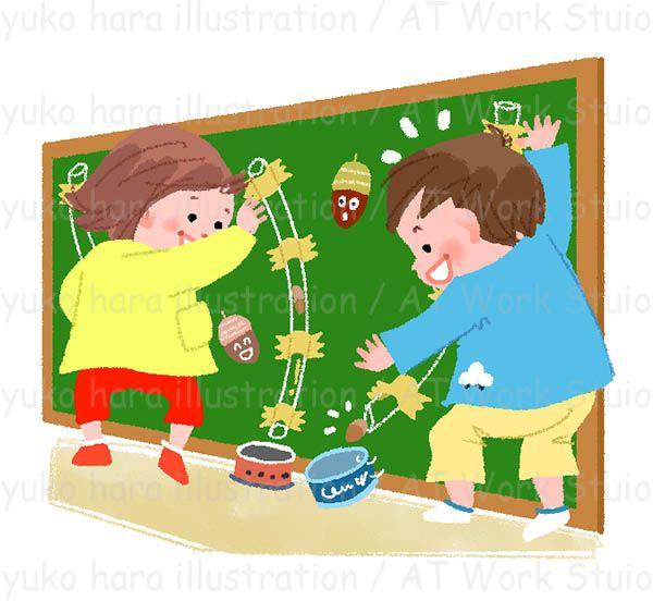 どんぐりでボード遊びをする幼い女の子と男のイラスト