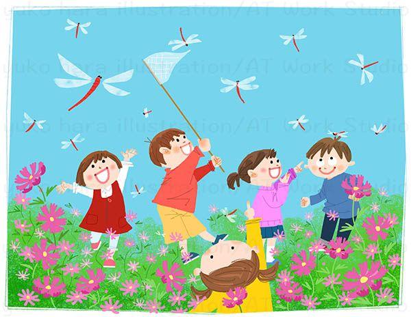 コスモス畑の中の赤とんぼと子供たちのイラスト