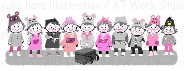 劇の衣装とお面を付けて整列する子供たちのイラスト