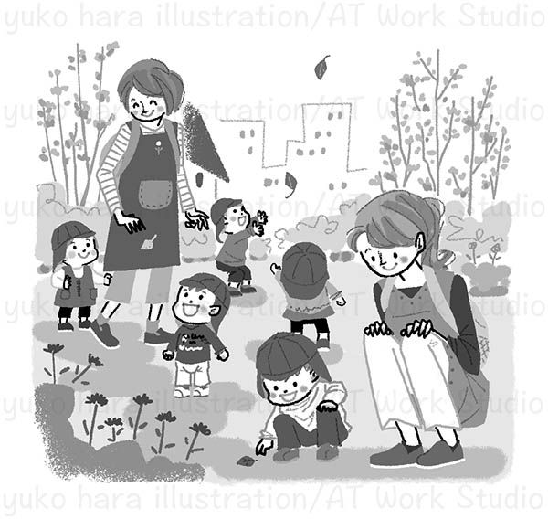子供たちと保育士のお散歩の様子のイラスト