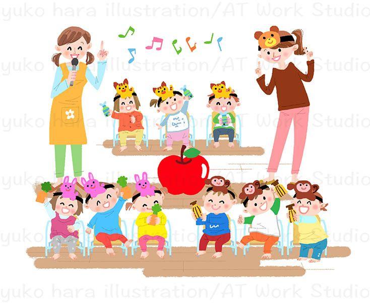 劇遊びで歌を歌う子供たちのイラスト