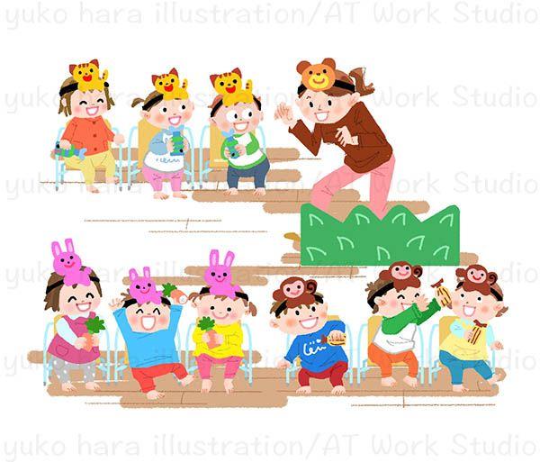 劇遊びをする保育士と子供たちのイラスト
