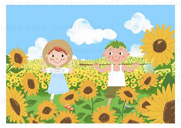 夏のひまわり畑の中の男の子と女の子のイラスト