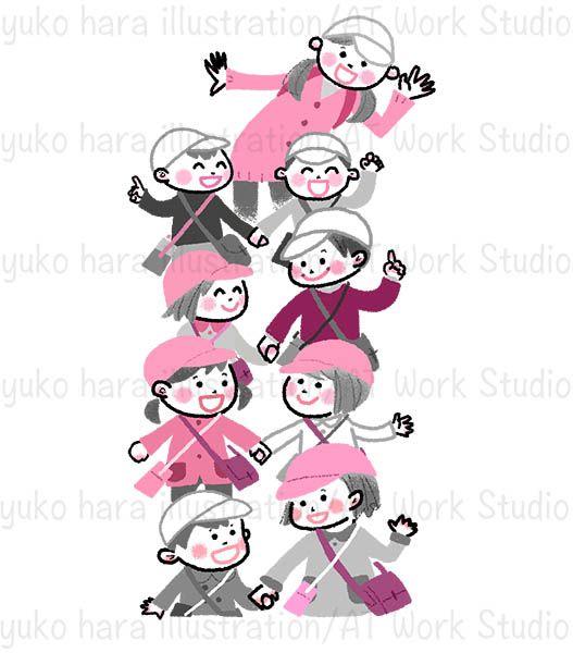 手をつなぎ並んで歩く子供たちのイラスト