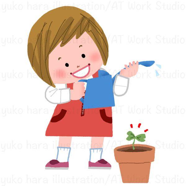 鉢に水を上げようとして発芽に気づいた女の子のイラスト