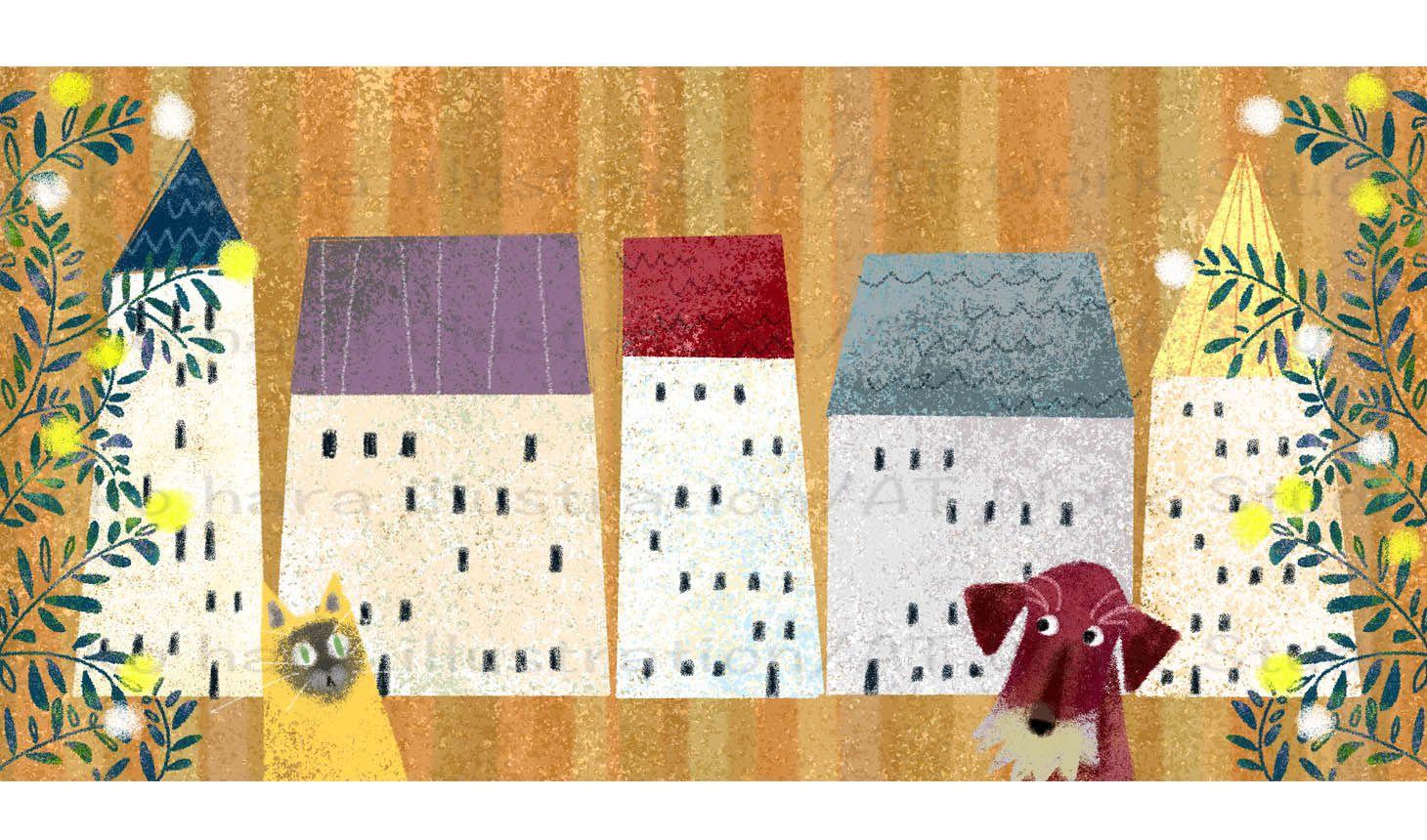家並みと犬と猫のイラスト