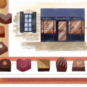 パリのチョコレートショップのイメージイラスト