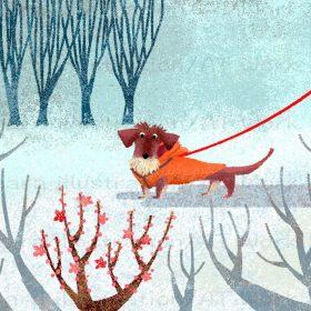 絵本風のタッチで描いた梅の花と犬のイラスト