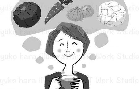 ファイトケミカルスープを飲んでにっこりする中高年の女性のイラスト