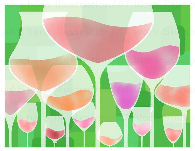 たくさんのグラスに注がれたロゼワインのイラスト