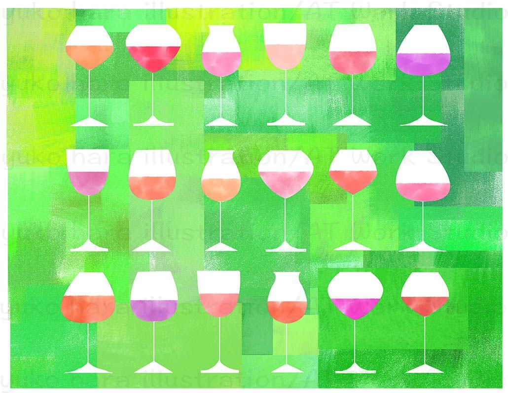 ロゼワインと春の緑のイメージイラスト