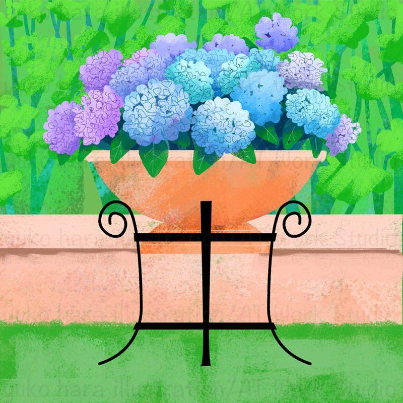 緑の林を背景に大きな鉢に植えられた紫陽花のイラスト