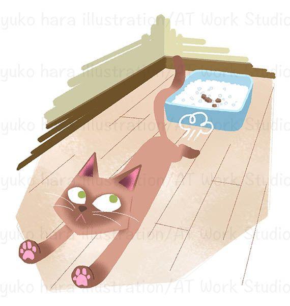 トイレの後に猛ダッシュする猫のイラスト