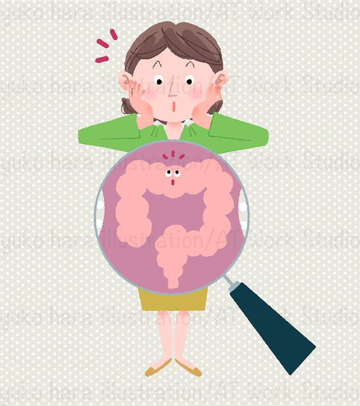 女性のお腹の中の腸を虫眼鏡で見ているイメージイラスト