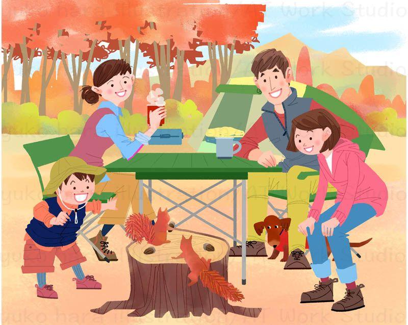 秋の紅葉の季節にキャンプを楽しむ家族の元に訪れた2匹のリスを描いたイラスト