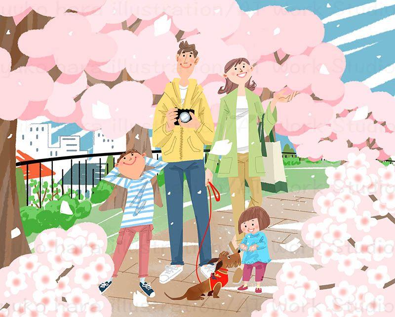 満開の桜並木と舞い散る桜の中を楽しそうに散歩する家族を描いたイラスト